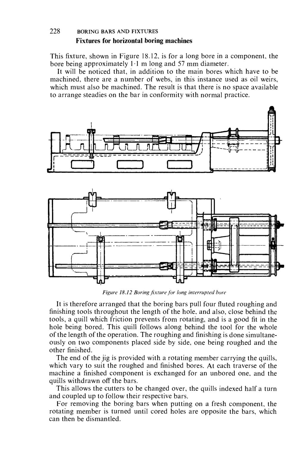 228 BORING BARS AND FIXTURES Fixtures for horizontal boring machines This fixture, shown in Figure 18.12, is for a long bore in a component, the bore being approximately 11 m long and 57 mm diameter.
