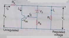 b) Describe the working of shunt voltage regulator using transistor with circuit diagram. Ans.