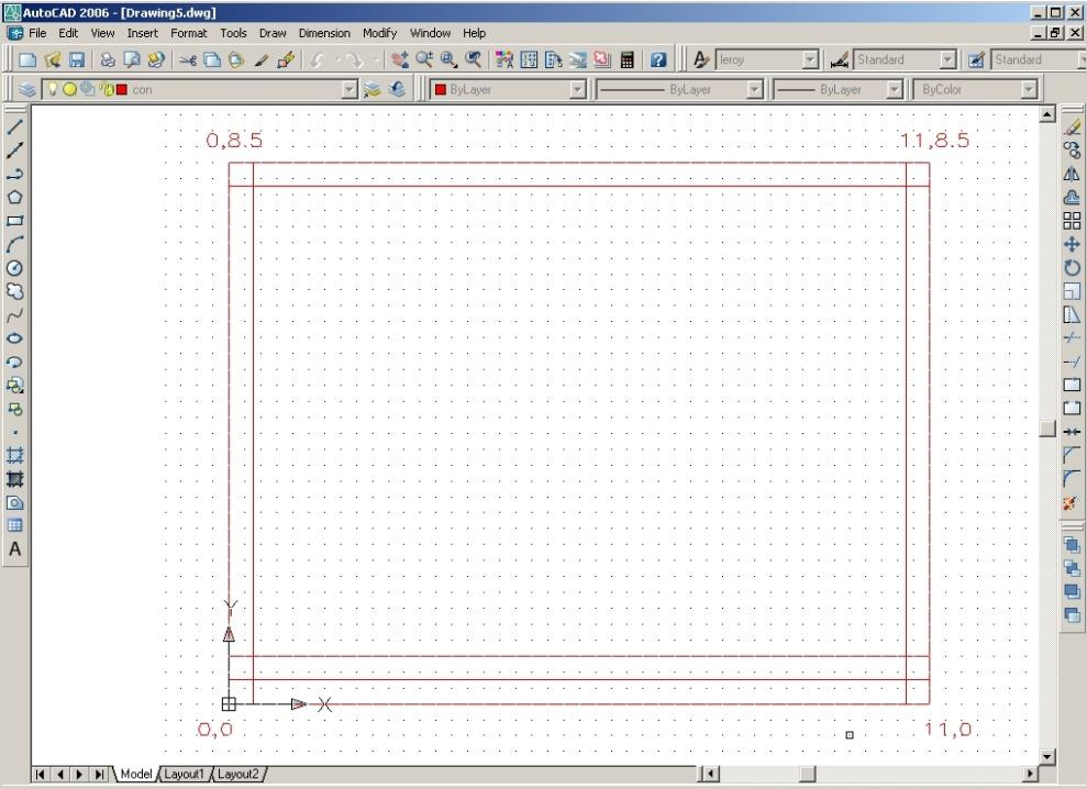 AutoCAD Essentials c. Draw layout lines: (absolute coordinates) Start 0,0 to 11,0 to 11,8.5 to 0,8.