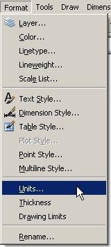 Note: In AutoCAD, METRIC units are Decimal units. Early versions of AutoCAD used a text display to format the settings. Type Units. The window changes to a text screen as shown.