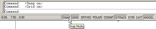Then, pick Drawing Settings. The dialog box shown will appear. X and Y spacing may be different values. At times, Snap and Grid are set to the same value.