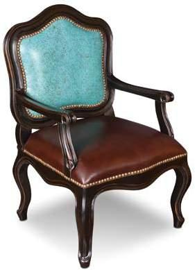 H6809-018-A-TUR Calico Accent Chair Turquoise 27 x 26