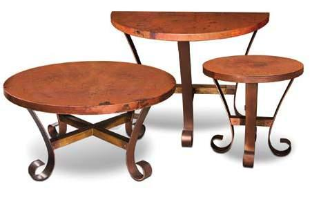 BARCELONA occasional tables H1900-100 Copper Top with Metal Base Round End Table 24 x