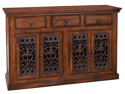 H2510-064-BRN Mandalay 64 4 Door Console Brown Finish 64 x