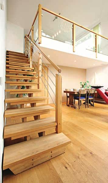 Straight Staircase Spirit Design in oiled oak with horizontal steel