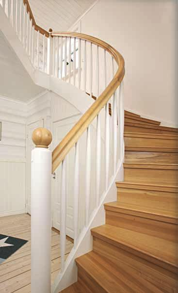 Half turned closed Staircase Tradition Design with treads and risers in oiled knot free pine and strings