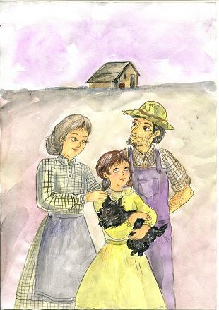 Dorothy lives in a small house in Kansas with Uncle Henry, Aunt Em and her dog Toto. There are often tornadoes in Kansas.