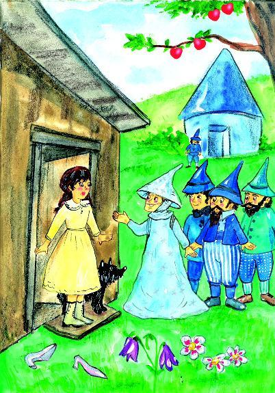 The house lands in a beautiful place. Friendly people live here. There are witches, too. Dorothy finds a pair of silver shoes near the house and puts them on.