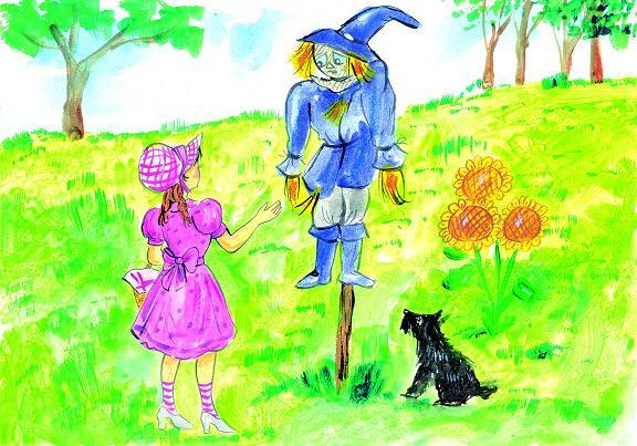 On the way, Dorothy meets a Scarecrow. He is hanging on a pole. The Scarecrow says, Hello. Dorothy asks, Can you talk?. With tears in eyes, the Scarecrow answers, Yes, I can, but I don t have a brain.