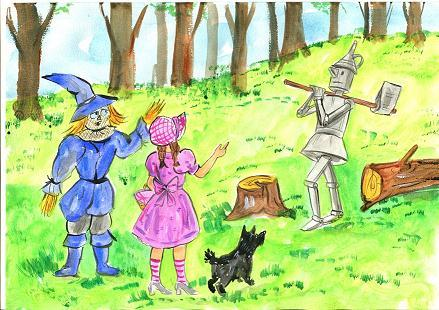 Next, they hear a strange noise in the forest. They see a Tin Man. Please help me, I need a heart, he says. Come with us, Dorothy says. The Tin Man asks, Where are you going?