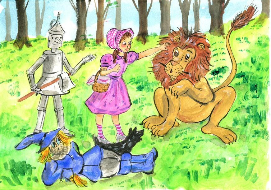 They keep walking. Suddenly, they hear a loud roar. A lion comes running and hits the Scarecrow with his big paw. You re a bad lion! shouts Dorothy. No, I m not. I m afraid of everything.
