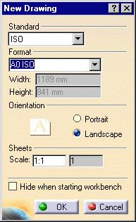 From the New Drawing dialog box, select the ISO standard, and the A0 ISO format. In this particular case, and all along the guide, we use the ISO standard.