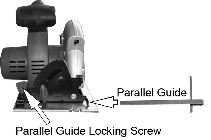 Slide the parallel guide into the base plate as shown. 2. Secure in place using the parallel guide locking screw. ADJUSTING 1.