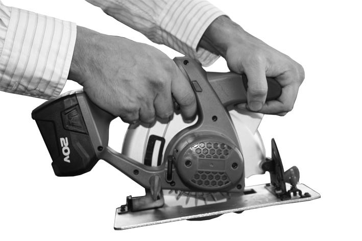 OPERATION & USE CORRECT HAND POSITION For your own safety, always hold the circular saw as shown in this picture, with one hand on the