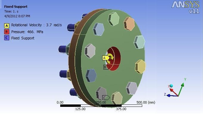 7 radian/sec to the flange joint in a clockwise direction and load of 220 KN is applied at the inner diameter as the load of shaft is transferred to the flanges.