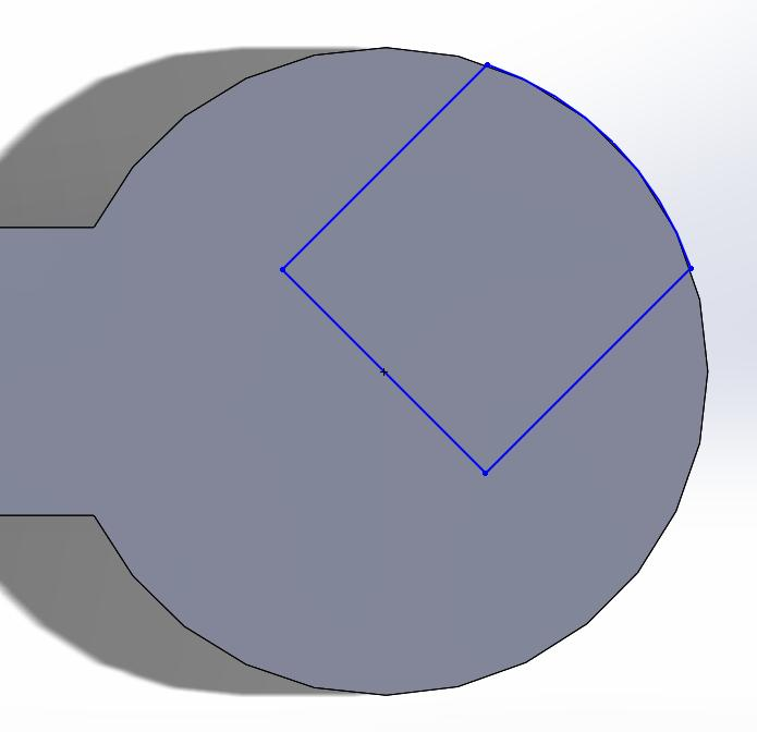 Next, add a line down the middle of the rectangle. Then trim all unnecessary lines (using the Trim Entities tool) until you are left with the shape below.