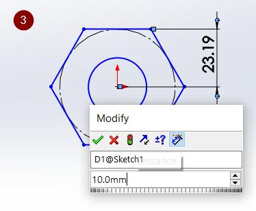 A dimension measurement should pop up. Left click again anywhere on the screen and a small window will appear.
