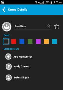 View Group Details 1. Select a Group from the group list and tap and hold.