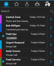 Navigating the Enhanced Push-to-Talk application 6 History The History tab displays all your conversation history of calls, contacts, groups, alerts, messages (text, image, video, and voice).
