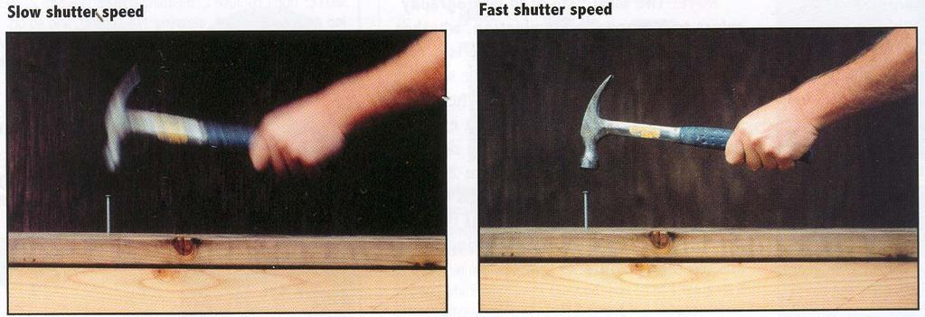 Effects of shutter speeds Slower shutter speed => more