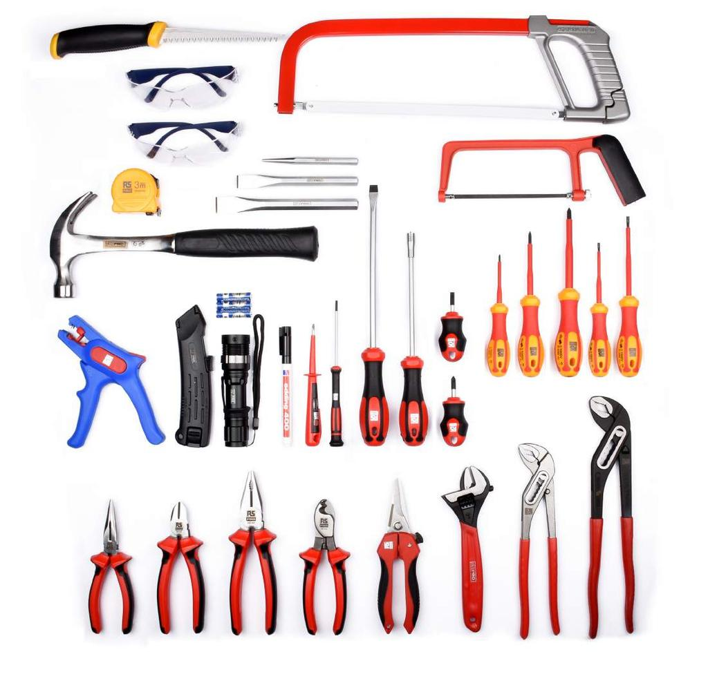 32 Piece Electrician s Tool Kit RS ITEM # 136-3411 06 02 05 07 03 04 16 17 18 08 09 10 11 12 13 14 15 19 20 21 22 23 24 25 26 1 Wallboard Saw - 160 mm 2 Safety Goggles 3 Compact Tape Measure - 3x16
