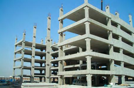 precast columns (21 m high), beams, hollow core slabs, staircase