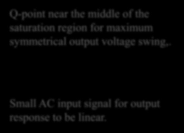 C Load Line Page 218 Q-point near the middle of the saturation region for maximum symmetrical output