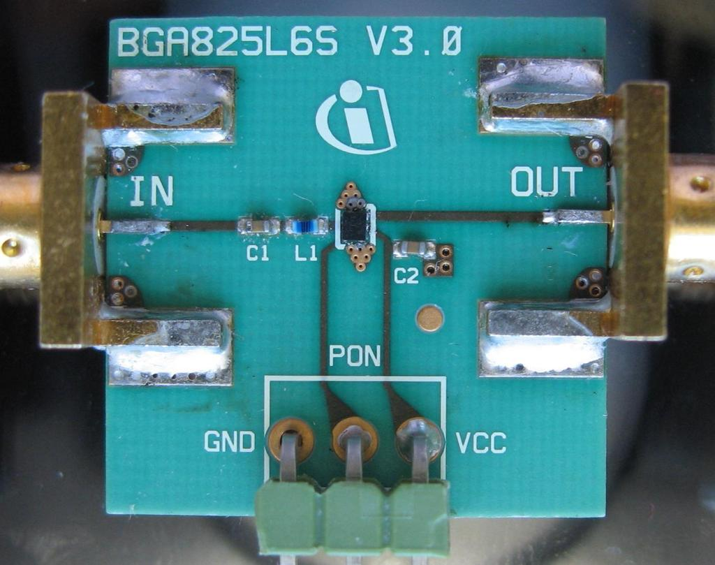 Evaluation Board 7 Evaluation Board Figure 22 Populated PCB picture of BGA825L6S Vias
