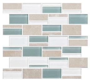 3 x RANDOM GLASS & NATURAL STONE MOSAIC PACIFIC