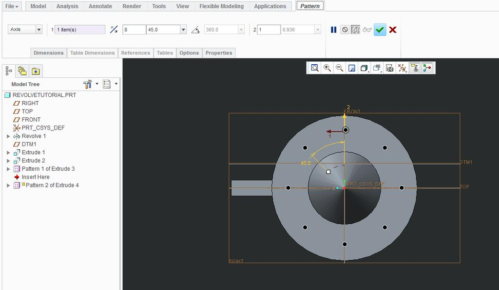 Axis Pattern 26. Click on Extrude 4 on the Model Tree > Model Tab > select Pattern > change the pattern type from Direction to Axis 27. Turn on Datums 28.