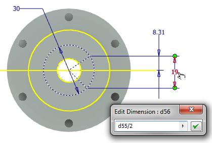 Exit the Sketch Start Hole Tool Place a From Sketch hole picking both line endpoints in the sketch with following options: Style: Counterbore Type: Tapped Hole Termination: Distance Thread