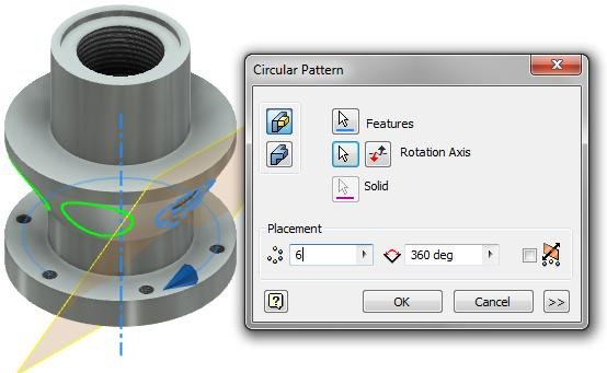 Click OK Start the Circular Pattern tool Select the 1/4 NPT tapped hole feature Select the outside diameter surface of the