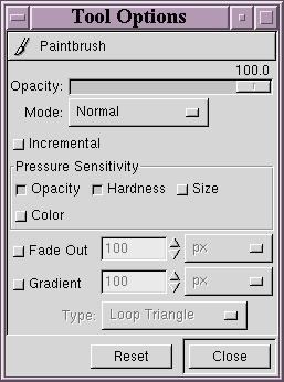 To allow you to make these adjustments, Gimp offers the Tool Options part of the main window, which shows the possibilities for each tool.