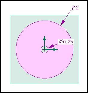 25 diameter circle at the center of the 2 circle.
