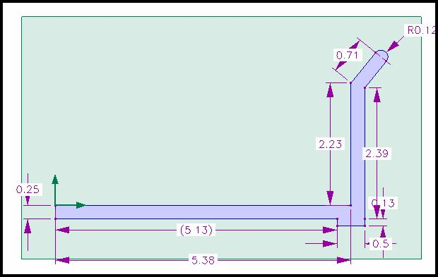 Refer to the drawings at the end of the tutorial for accurate dimensions. Figure 42. Profile for Dump bed. 48. Select Extrude Profile to extrude this profile.