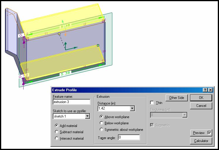 Click OK to create the sketch then use the View Ortho Workpane to view it. Construct two rectangle shapes as shown in figure 45. Figure 45.