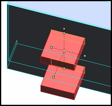 Figure 48. Layout for Axel Supports. 54. Use delete line segments to remove all construction lines leaving only the two rectangular profiles of the supports as shown in figure 49.