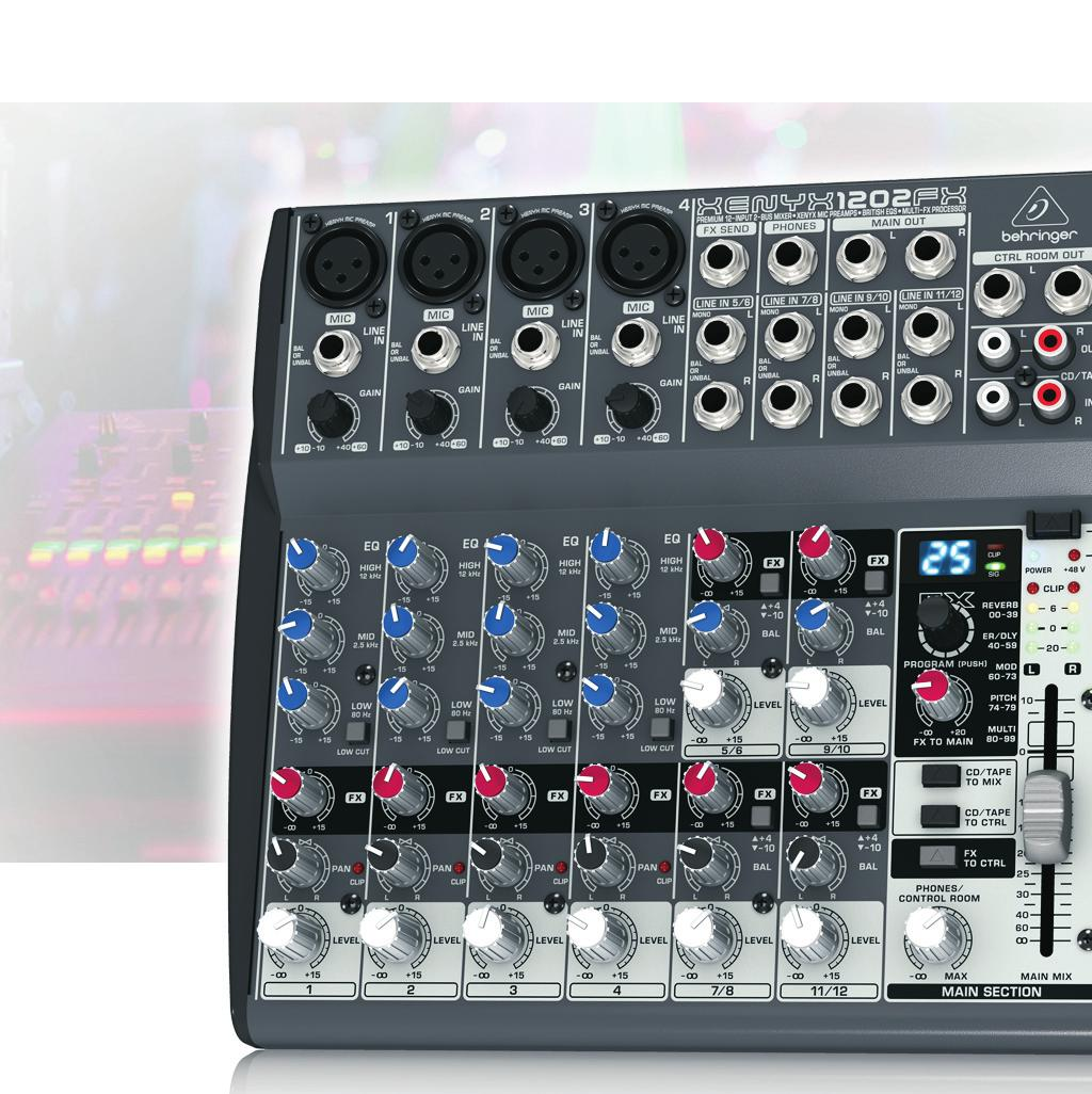 internal FX processor and/or as external send Main mix outputs plus separate control room, phones and stereo CD/tape outputs CD/tape inputs assignable to main mix or control