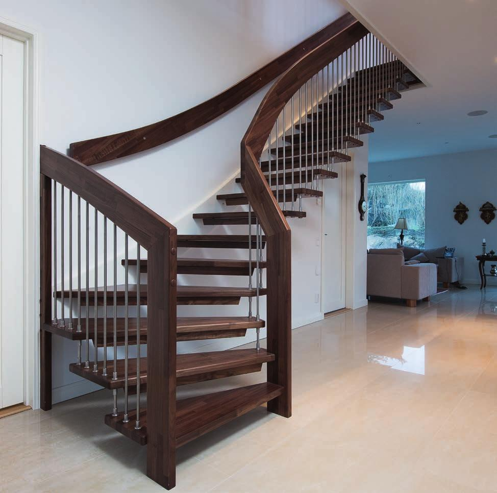 1 WF STAIRCASE Given how the stair is constructed, the timber used to create this staircase is always hardwood with beech, oak, maple, ash and walnut being the most popular options.