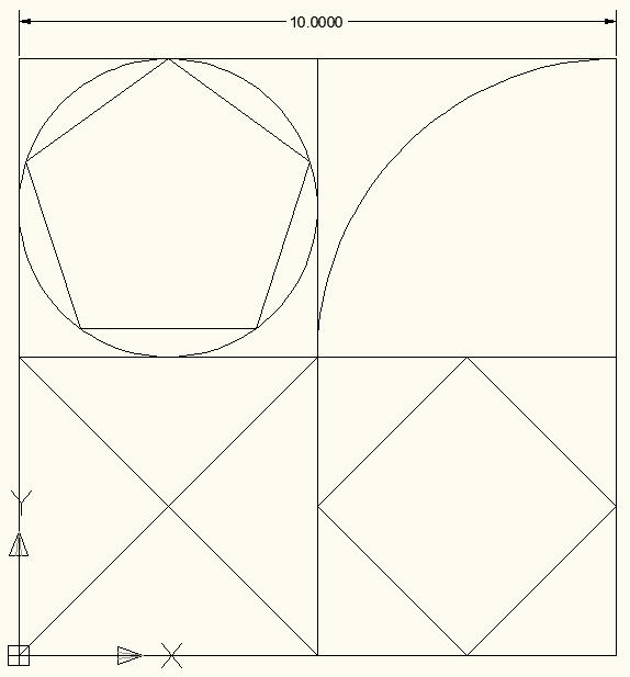 Assignment Draw the sketch shown in Figure 18. The dimension is included for reference and does not need to be included in your drawing. The upper-left corner uses a circle and a 5-sided polygon.