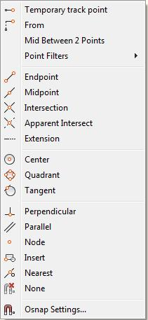 Figure 9 - Snap Options From this pop-up, you can set the snap location to several different features including circle centers, tangents and line midpoints.