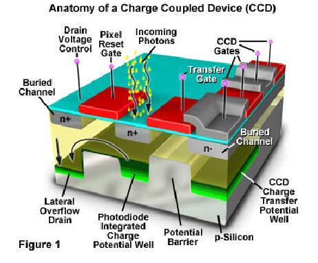 Light Sensor Charge-Coupled Device (CCD) matrix of photodiodes on silicon converting photons into electrical charges charge proportional to the light collection of charges in a pool