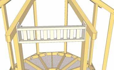35. Lift a completed Upper Rail Section up and place between the Rafters
