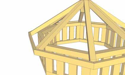 95. Place Roof Panel centered equally on Rafters and against Core Block.