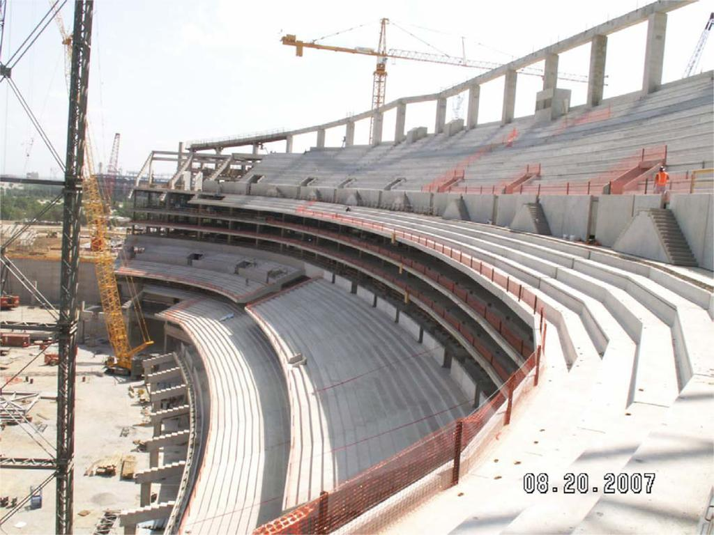 Framing system design and construction methods are presented and details of the construction and design of three major league and college stadiums are presented.