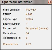 version number, Engine type: piston, jet, helicopter or turboprop, End recording mode: On ground normal (recording