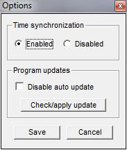 7 TRACKER OPTIONS Clicking the Options button on Tracker window will give the possibility to: Enable or disable time synchronization (Enabled is the default),