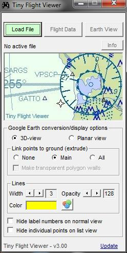 Flight Viewer display options will be saved between sessions and include: Flight path view type.