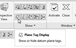 Click on the Plane Tag Display icon to toggle on/off the display of the plane tag.