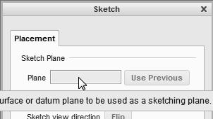 In the Section Placement window, the selection of the sketch plane and the orientation of the sketching plane are organized into two groups as shown in the figure.
